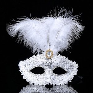 The New On Sale Half Face Party mask venetian masquerade Feather Masks gold plating fluff feather mask dance party mask mix color