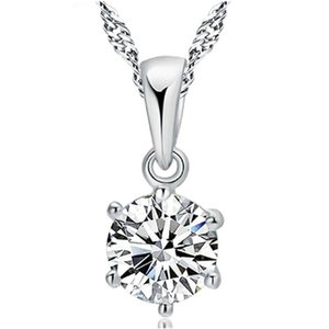 Six Prongs Setting Round Brilliant 6MM CZ Pendant Necklace S925 Silver Necklace