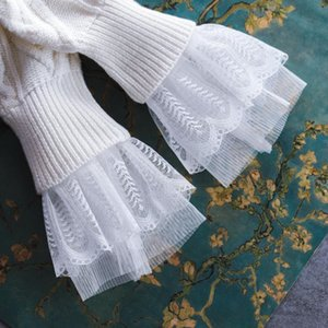 Korean Double Lace Mesh Folding Hand Bowl Set Lace Autumn winter Women's Knitted Sweater Gloves Fake Sleeves
