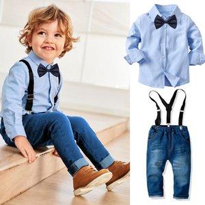 Boys suit pants suit Suspender pants set ' Baby long-sleeved bow shirt denim suspender trousers set children's banquet formal dress