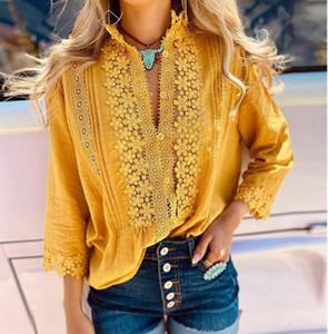 New Autumn White Lace Blouse Plus Women Tops Casual Loose Blouses Long Sleeve Vintage Ladies Shirts Blusas