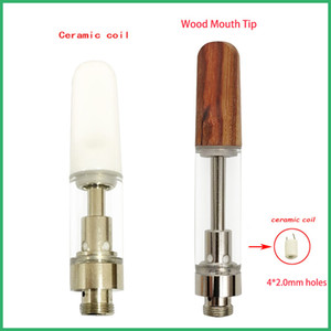 Refillable ceramic vape pen cartridges 4 intakeholes atomizer OEM logo package flat wooden tip drip tip wickless vaporizer thick oil tank
