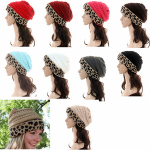 11color leopardo maglia cappelli di inverno delle donne leopardo Cappello Berretti Patchwork lavorato a maglia caldo Skull Crochet Cappellini Unisex Partito Cappelli GGA3604-1