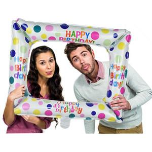1шт День рождения Photo Booth Фольга Воздушные шары 59 * 50см С Днем Рождения Воздушный шар Photo Frame Globos Фото Реквизит Birthday Party украшения