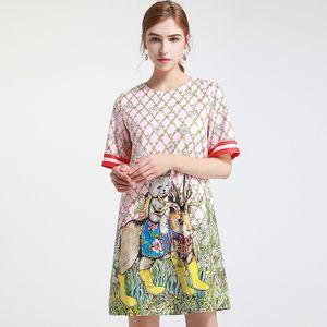 710 2020 Brand Same Style Dress Long Sleeve Crew Neck Womens Clothes Flora Print Pink Blue Luxury Fashion Dress SH