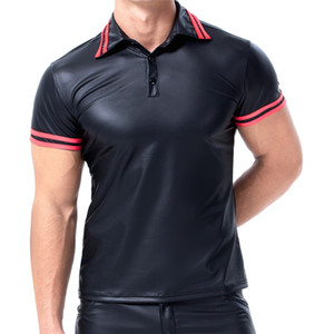 Mens T-shirts PU Leather Short Sleeve Body Shapers Streetwear Plus Size Undershirts Party Clubwear Gay Sexy Shirts Chemise XXL
