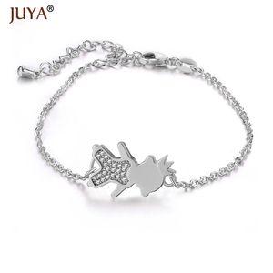 JUYA Summer Latest DIY Popular Lucky Crown Girl Boy Kids Mama Charms Zircon Copper Bracelet Kawaii Jewelry For Mom Women Gift