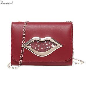 Female Shoulder Bags Womens Handbags Clutch Evening Lady Shoulders Small Square Bag Transparent Package Lips Red Messenger Bag