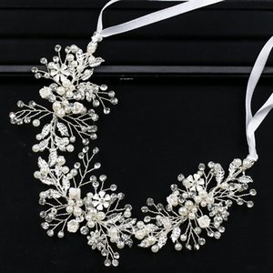 Silver Color Bride Headbands Pearl Flower Wedding Hair Accessories Headband Bride's Tiara Head Bandage Jewelry