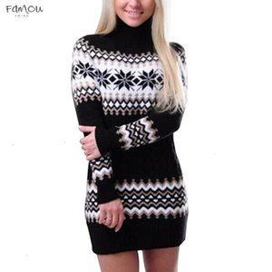 Winter Women Sweater Dress 2020 Knitted Turtleneck Long Sleeve Slim Loose Dress Sweaters Streetwear Dresses Designer Clothes