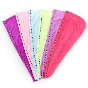 Fibre Superfine Produits cheveux serviette Cap super Absorbent sec Turban Wrap Chapeau Crémeux couleur tête écharpe serviette de bain Set 4 2JY B2