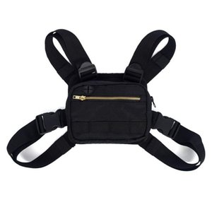 Движение на открытом воздухе Сумки на пояс Chest рюкзаки Компактный Мужские сумки Мужчины Chest Rig пакет Hip Hop Streetwear Black 35hd E2