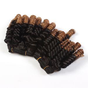 Heißer Verkaufs-brasilianische 1B / 30 Funmi Jungfrau-Menschenhaar Bundles Pixie Bouncy Curly Hair Extensions webt für die Frau