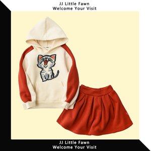 Children's clothing 2019 autumn women's children's suit dress plus velvet hooded sweater two-piece suit dress