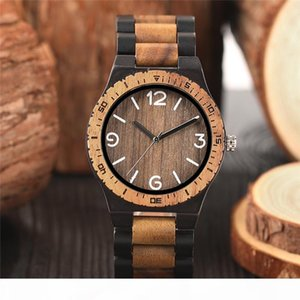 Minimalist Retro Tam Ahşap Saatler Kadınlar Erkekler Bambu Ahşap Bilezik Moda Yaratıcı Kuvars saatler El yapımı hediyeler Saat Saat