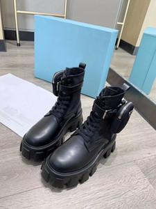 2020 mejores diseñadores de moda los zapatos de cuero negro mate de las mujeres del tamaño de bolsillo bota corta gruesa suela de los zapatos de cuero reales 35-40