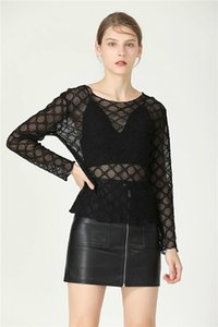 New Women's Letter Embroidery Long Sleeve O-neck Perspective Gauze Mesh T-shirt Plus Size S M L
