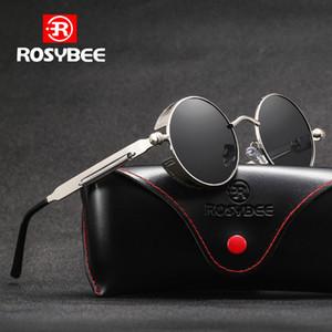 ROSYBEE Marca Ronda polarizadas gafas de sol del metal de Steampunk Hombres Mujeres Moda Marca de los vidrios de diseño retro oculos UV400 de la vendimia