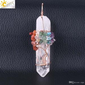 Cristallo bianco naturale donne CSJA Uomini Grande pendente della pietra preziosa Quarzo 7 Chakra Albero della Vita in oro rosa a mano filo Avvolto Collana Charms F517