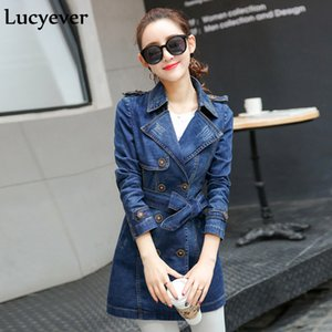 Lucyever Plus Size Women Denim Trench Fashion Autumn Slim Korean Female Long Coat Long Sleeve Tunic Double Breasted Windbreaker