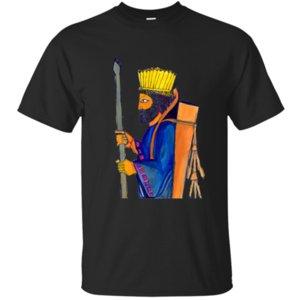 Erkekler 2020 Erkekler Tişört Kırışıklık Karşıtı Tee için Vintage Rahat bir Pers Muhafız Suluboya Resim T Gömlek Komik Tops