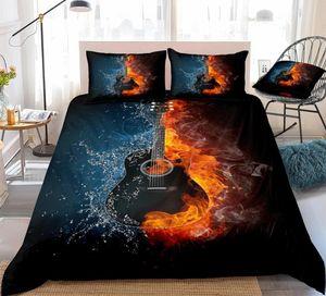 Guitarra Negro 3D cubierta del Duvet de Guitarra en el fuego y el agua cubierta del edredón Negro Instrumentos Musicales juego de cama Rey 3pcs Música Dropship