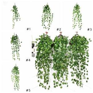 Искусственные Ivy Листва Зеленые листья Поддельный висячие Emalation Цветочная лоза завод Rattan Свадеб Garden Decor НАСТЕННЫЙ питания DHD327
