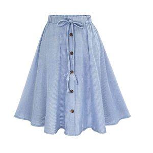 PEONFLY 2020 Damenmode Röcke Chalaza einreihig Buckle dünne Streifen Halb Körper Faltenrock Harajuku Frauen Röcke