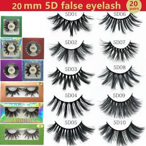 30 Styles Natural Long 20mm 5D Mink Eyelash 5D False Eyelash Natural Long Mink Eye Lashes in paper box