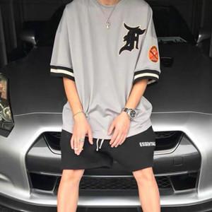 FEEAR KAPALI İYİ 6 Mesh Kısa Kollu TEE Oversize High Street tişört Moda Erkek Ve Kadın Çift Rahat Yaz Tişörtler HFXHTX336