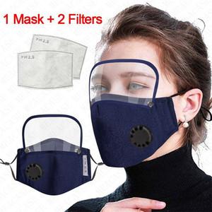 2020 Cotton Entlüfterventil Männer Frauen Vollmasken mit Filter Staubdichtes Breath abnehmbare Gesichtsmaske Abdeckung 4color SALE D71507
