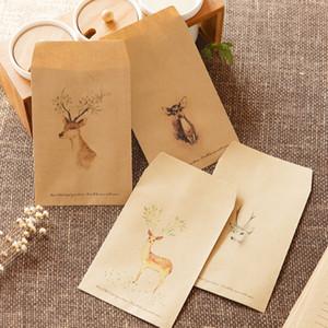 20pcs Retro Weihnachten Deer Gemalte Weihnachts Kraft-Umschlag Geschenk-Beutel Packpapierbeutel Süßigkeit für Hochzeit Geburtstag-Party-Geschenk