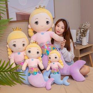 sirène mignonne peluche grande bande dessinée humanoïde fille poupée animal endormi en peluche Apaiser poupée peluche enfants oreiller cadeau de Noël