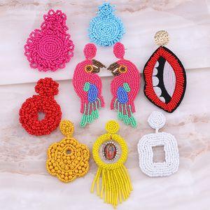 Sehuoran Beads Birds Fringe Drop Earring For Women Wedding Jewelry Colorful Crystal Animal Pendant Boho Dangle Earrings Gifts