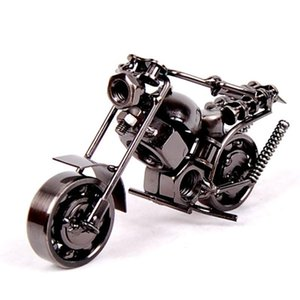 "10Styles 14cm(5.5"") Motorcycle Model Retro Motor Figurine Metal Decoration Handmade Iron Motorbike Prop Vintage Home Decor Kid Toy"