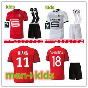 2020 2021 Stade Rennais CAMAVINGA Soccer Jersey 20 21 Niang TERRIER Bourigeaud Raphinha maillot de homens de pé e crianças kit de futebol Shirt