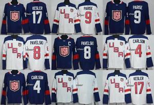 2016 Livraison gratuite Coupe du Monde Amérique du Nord Homme 9 Parise 8 Pavelski 4 Carlson 17 Kesler Marine / Blanc Blank Hockey sur glace Hommes Maillots