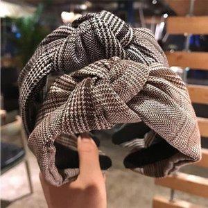 Korean New Grid Width Hairbands Fashion Knot Turban Headband For Women Hair Accessories Bath Yoga Headwear 2020 Girl Gift