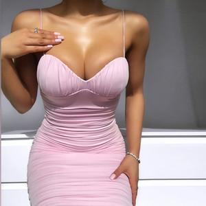 Rosa Summer Dress donne spalline Sweetheart scollo piega Vestito aderente Backless Vestiti sexy 2020 Nuovo