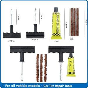 Car Tire Outils de réparation Tubeless Puncture Repair Kit Plug-aiguille Patch Fix Tool ciment Sets utiles Outils Auto Tire