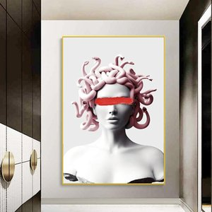 Medusa Resimlerin Wall Art Kapak Yüz On Medusa Tuval Sanat Posterler Grafiti Sanatı Tuval resimlerinin Vaporwave Heykel