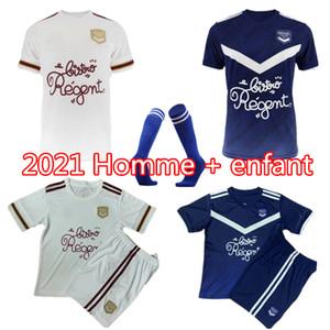 남자 키트 키트 20 21 Girondins de Bordeaux 축구 유니폼 Maillot 드 Foot 2020 보르도 Bridand S.Kalu 카마 노 베니토 기본 축구 셔츠