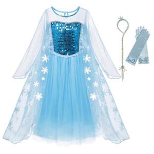 2-10T에 대한 YOFEEL 여자 드레스 어린이 긴 소매 장식 조각 눈의 여왕 공주 코스프레 의상 어린이 파티 드레스 Frocks