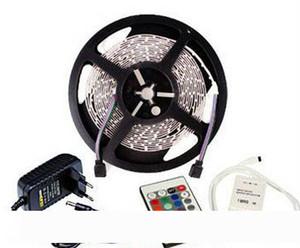 5 metros por rolo Faixa de LED RGB Luz SMD 3528 300 LED 12 60leds Volt estou não-impermeável 24 Chaves Controle Remoto 2A Power Adapter 5m 12V CE
