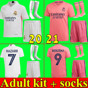 20 21 real Madrid men soccer jerseys HAZARD JOVIC BENZEMA 2020 2021 VINICIUS RODRYGO MODRIC football kit shirt adult set with socks