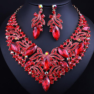 NEW Foreign trade explosions painted rhinestones leaves necklace earrings two-piece set Europe and the United States African bride wedding