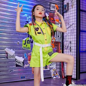 Hip Hop костюм Kids Street Dance одежда Зеленый Комбинезон Комбинезоны Короткие рукава Бальные Этап Джаз Танцы Outfit Wear BL4432