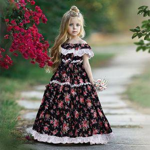 EACHIN Девочки Платья Лето-американски платье принцессы цветка Длинные платья ребёнки Детский Lace Birthday Party Dress