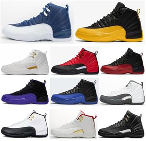 New 12 12s OVO Université Gold Stone Bleu Taxi Royal Game Basketball Chaussures Hommes Le Maître Gris foncé FIBA Sneakers ETUI