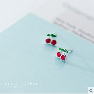 S925 Silver Cherry Earrings Female Korean-Style Cool Cute Sweet Small Earrings Fashion Simple Ear Jewelry